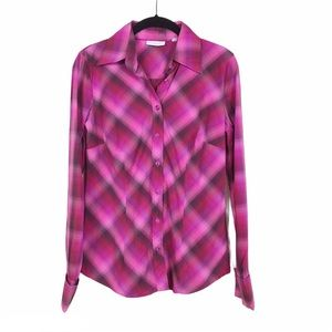 New York and Company Pink Plaid Button Front Top